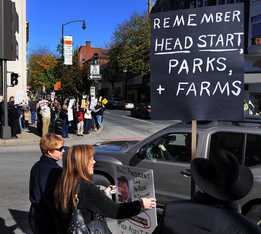 Frederick cuts draw protesters to city square