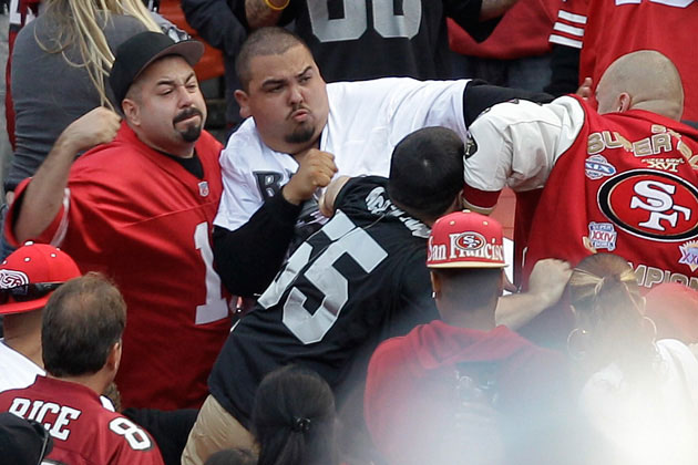 cb8dfe4a6 Football fans fight in the stands during a preseason NFL game between the  San Francisco 49ers and the Oakland Raiders in San Francisco. A zero.