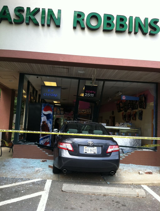 Two cars crash into buildings in Va.