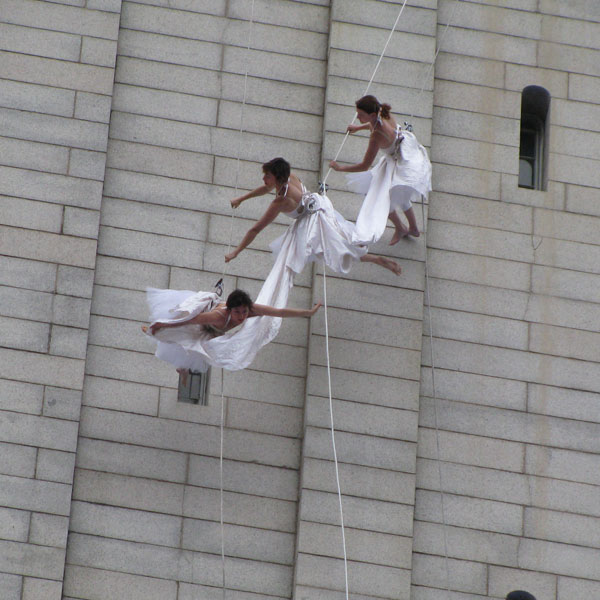 Flying through the air, 'Bound(less)' at Kennedy Center street arts festival