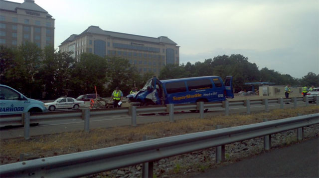 Dulles Access Road reopens after shuttle bus accident
