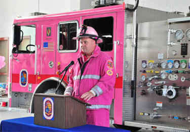 The Pink Pumper fights fires and breast cancer