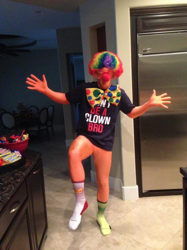 Bryce Harper in Halloween spirit with clown costume, bro