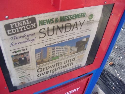 Manassas News & Messenger prints final edition