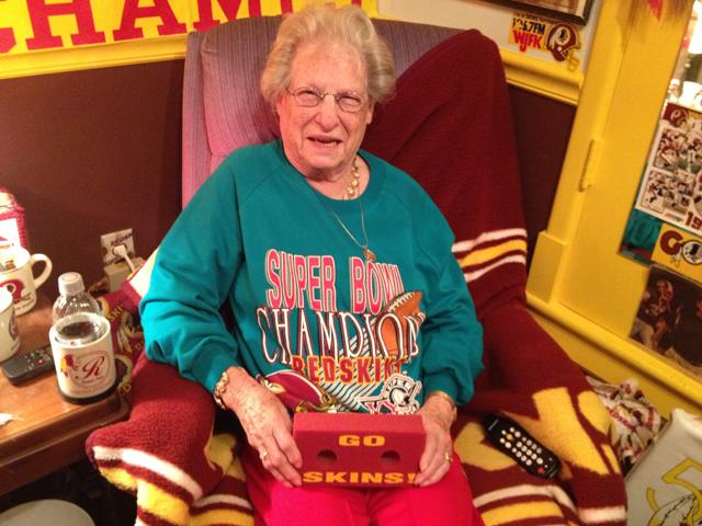 89 year old woman is die hard redskins fan video wtop mary holt 89 is a die hard redskins fan wtopthomas warren aloadofball Image collections