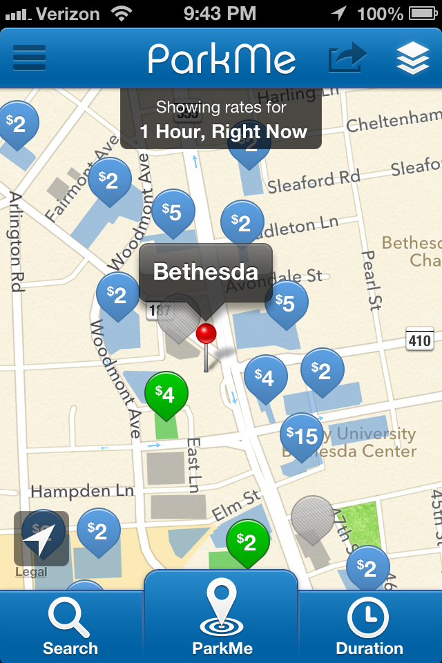parkme app offers parking locations and availability wtop. Black Bedroom Furniture Sets. Home Design Ideas
