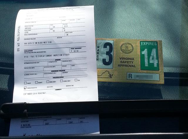 D.C. ticket dismissed after blatant error