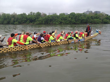 Dragon boats prowl the Potomac