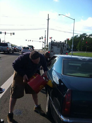 Firefighter goes extra mile for elderly driver