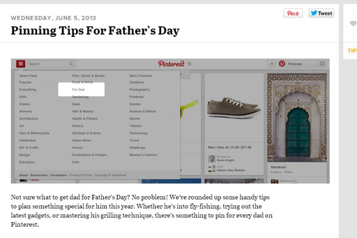Finding gifts for Father's Day on Pinterest