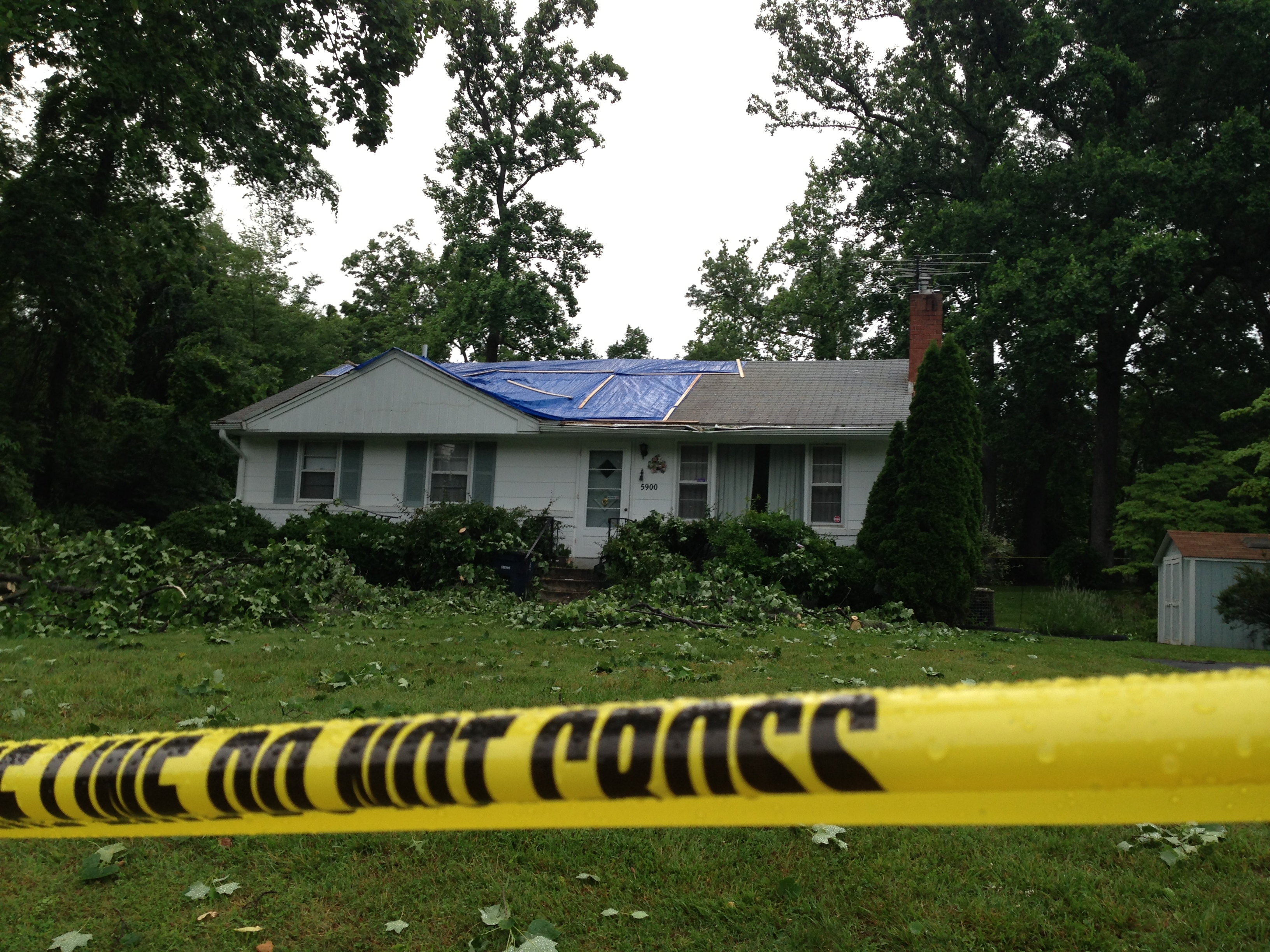 Home sliced by falling tree is dangerous to public
