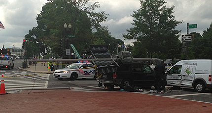 6 hurt, pedestrian pinned in D.C. crash
