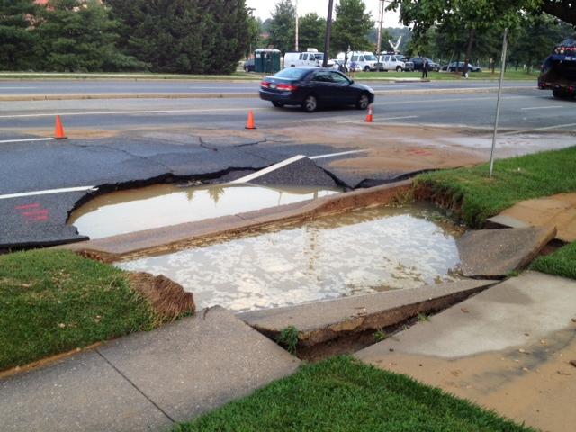 12-inch water main breaks in Hyattsville