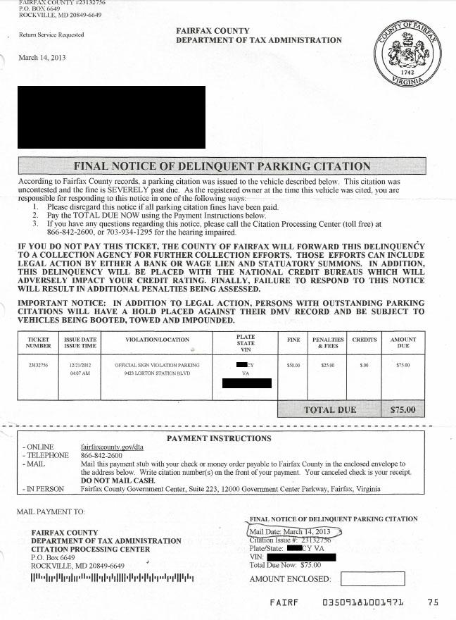 Illegible handwriting leads to ticket error in Fairfax County