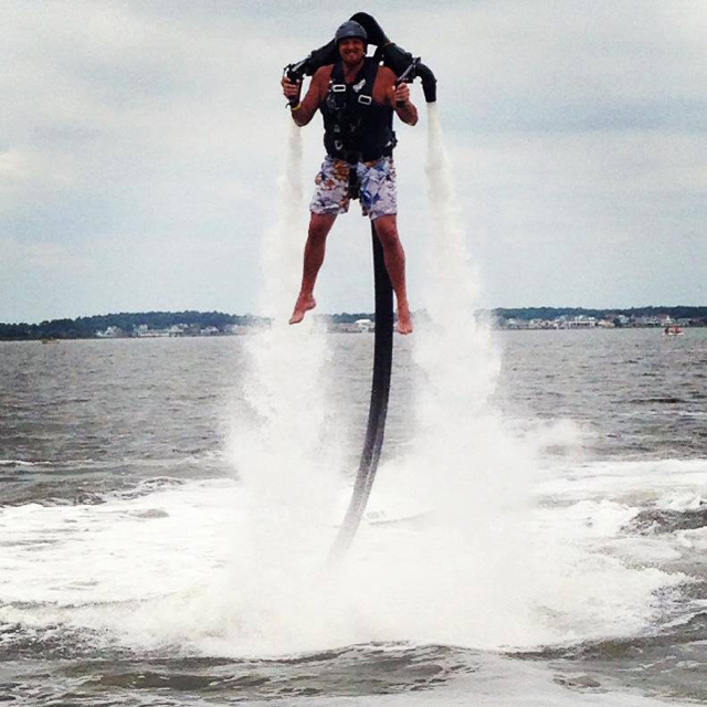 Flying a jetpack at the beach (Video)