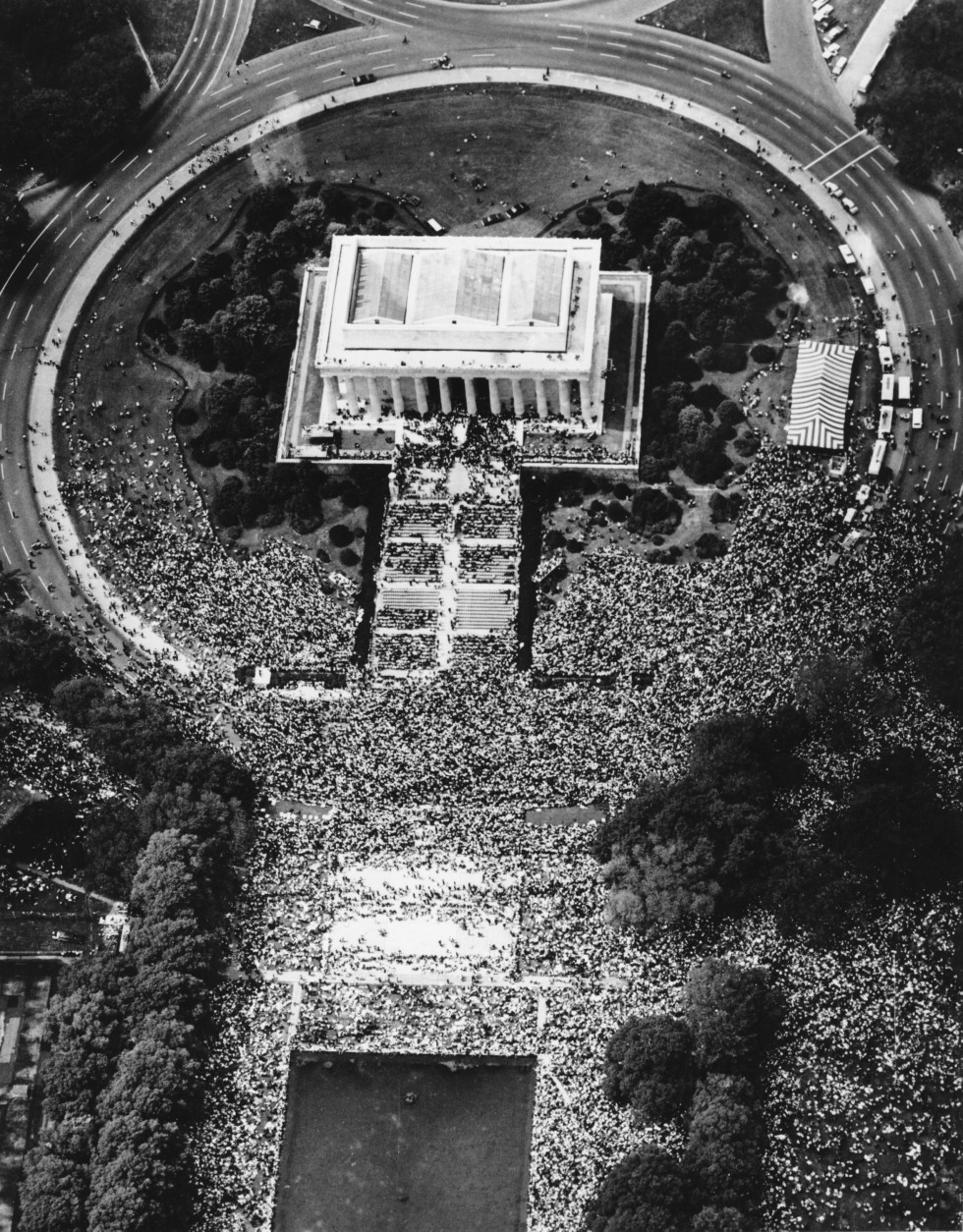 An aerial view from a helicopter shows the March on Washington at Lincoln Memorial in D.C. on Aug. 28, 1963.  Over 250,000 people fighting for pending civil rights laws, such as desegregation, gathered at the Lincoln Memorial after a sign-carrying parade from the Washington Monument grounds.   (AP Photo)