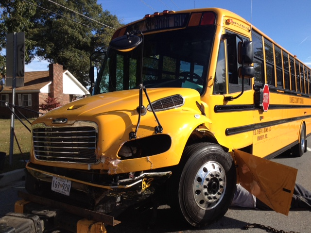 SUV hits school bus head-on in Charles County, injuries reported