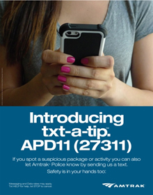 Amtrak unveils new suspicious activity text tip line