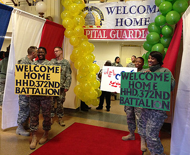 Local National Guard troops return home