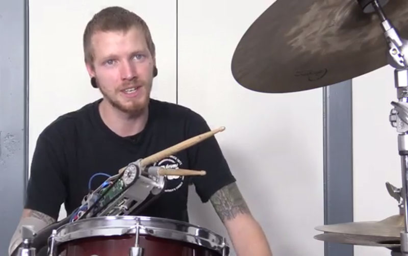 Robotic device turns drummer into three-armed cyborg