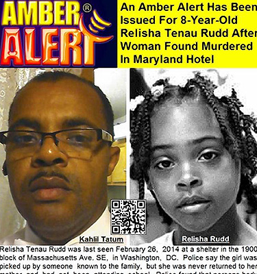 Amber Alert Information Issued About Relisha Rudd, 8, Who Is Believed To Be  With Kahlil Malik Tatum, 51.