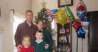 Family celebrates homecoming with springtime white Christmas