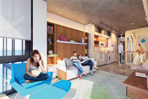 The increase in millennials and a lack-of affordable housing fueled the micro-unit trend. (Courtesy Perkins Eastman-DC)