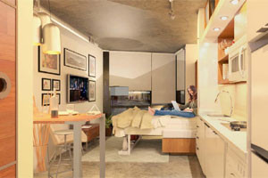 Micro-units are typically between 250 and 375 square feet. (Courtesy Perkins Eastman-DC)