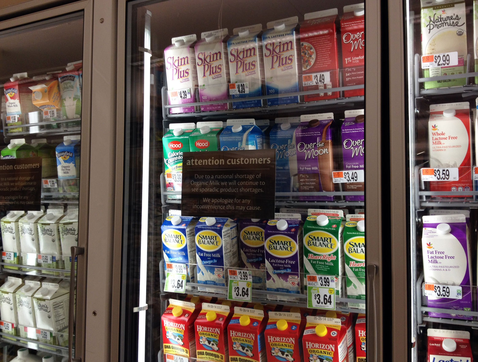 Organic milk shortage felt locally