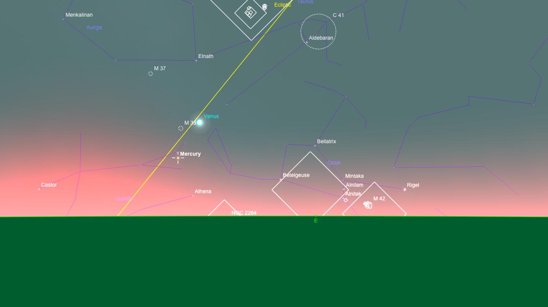 Mercury and Venus close in pre-dawn sky