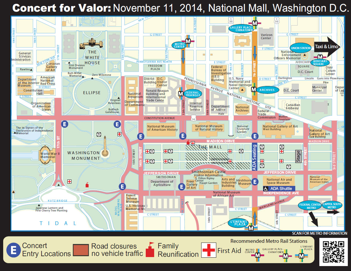Traffic Closures For Veterans Day Concert On The National Mall WTOP - Washington dc traffic map