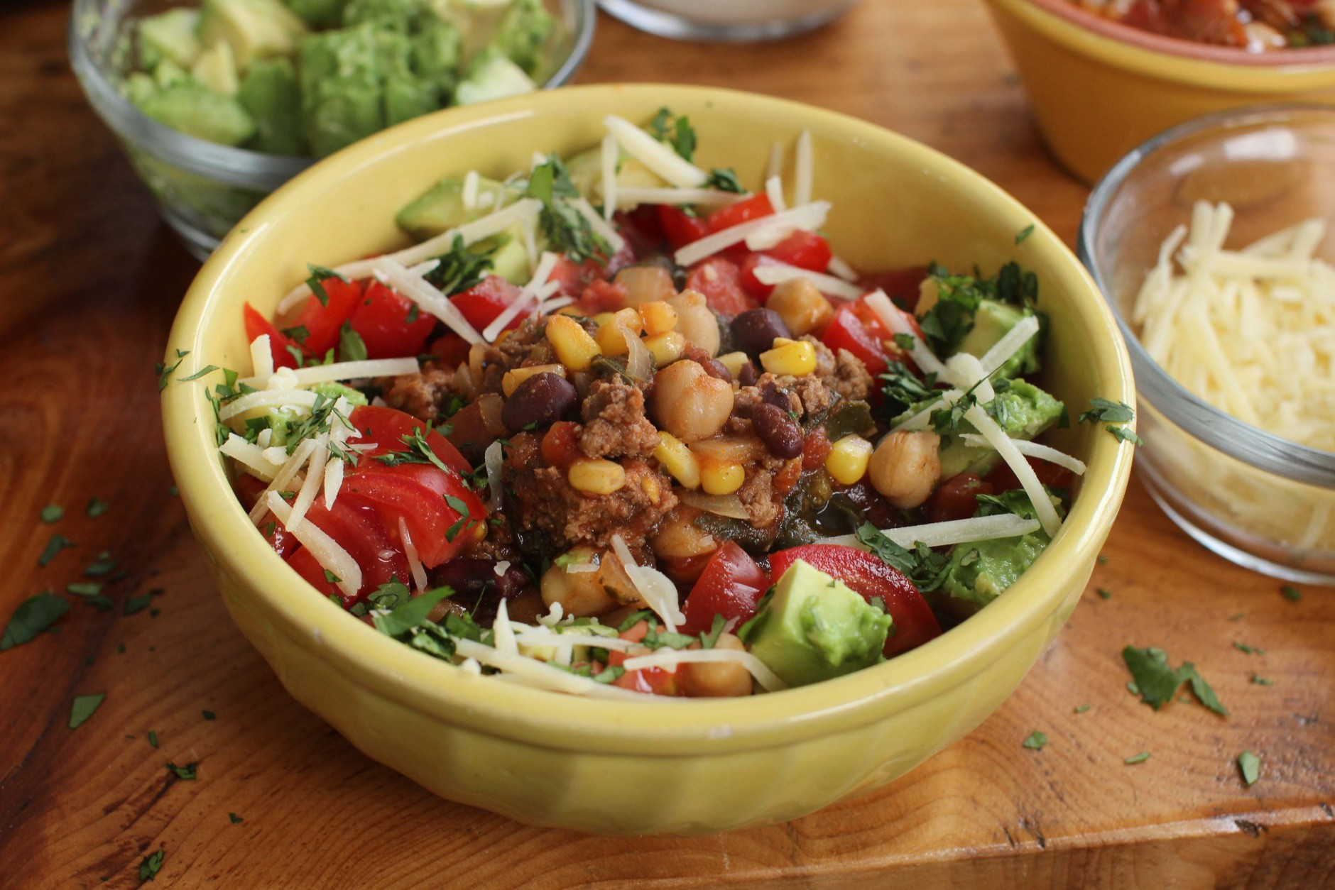 This Feb. 1, 2016, photo, shows slow cooker Southwestern stew in Concord, N.H. This healthy recipe is full of fiber and protein thanks to the combination of black beans, chickpeas and lean ground beef. (AP Photo/Matthew Mead)