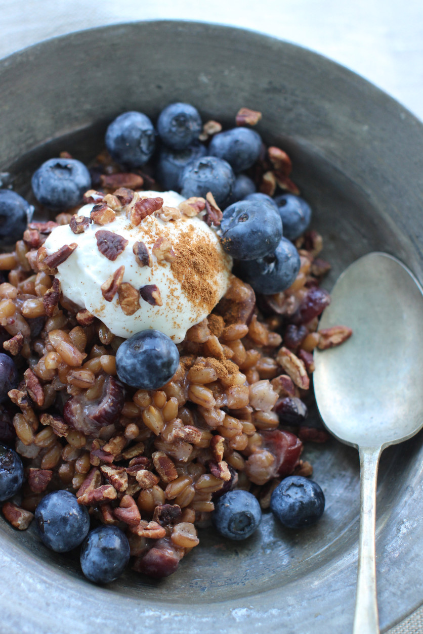 This July 20, 2015 photo shows slow cooker triticale porridge in Concord, N.H. Freekeh and triticale are among the latest hot whole grains gaining ground as more Americans look beyond brown rice.(AP Photo/Matthew Mead)