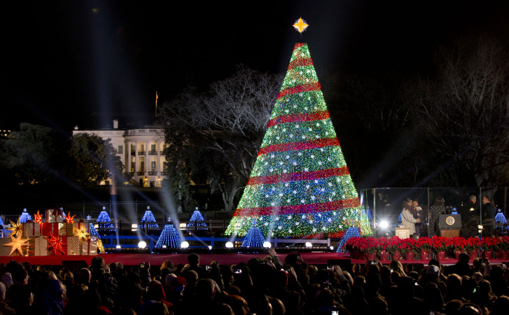 president barack obama and the first family stands right after lighting the 2014 national christmas tree during the national christmas tree lighting - Christmas Tree Lighting