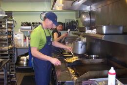 Volunteers at Miriam's Kitchen. (WTOP/Kathy Stewart)