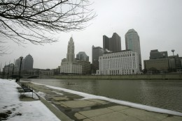 FILE-This Monday, Feb. 25, 2008 file photo shows the skyline of downtown Columbus, Ohio. Democrats are weighing New York, Philadelphia or Columbus, Ohio, for its 2016 convention. Party officials are expected to make a final decision in late January or early February. (AP Photo/Kiichiro Sato, File)