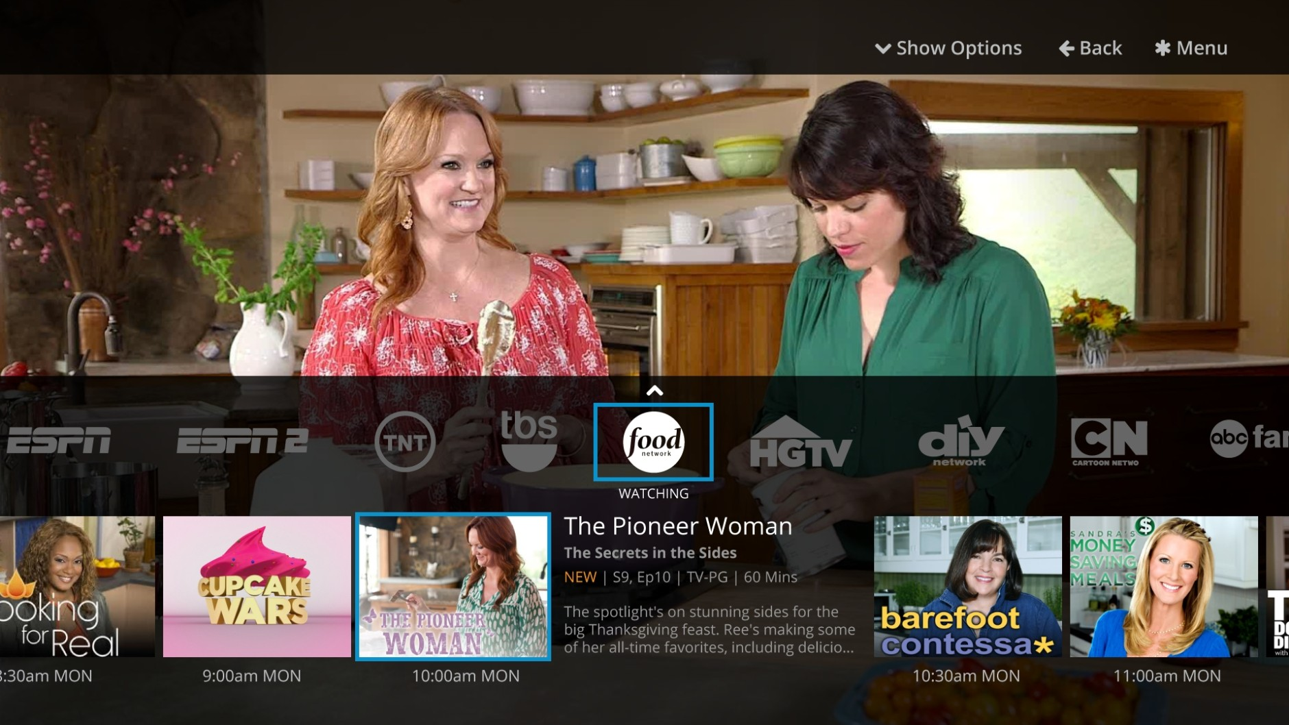This undated image provided by SlingTV shows a view of the network miniguide on the Sling TV app.  The Sling TV service is aimed at people who have dropped cable or satellite service or never had it. (AP Photo/Sling TV)
