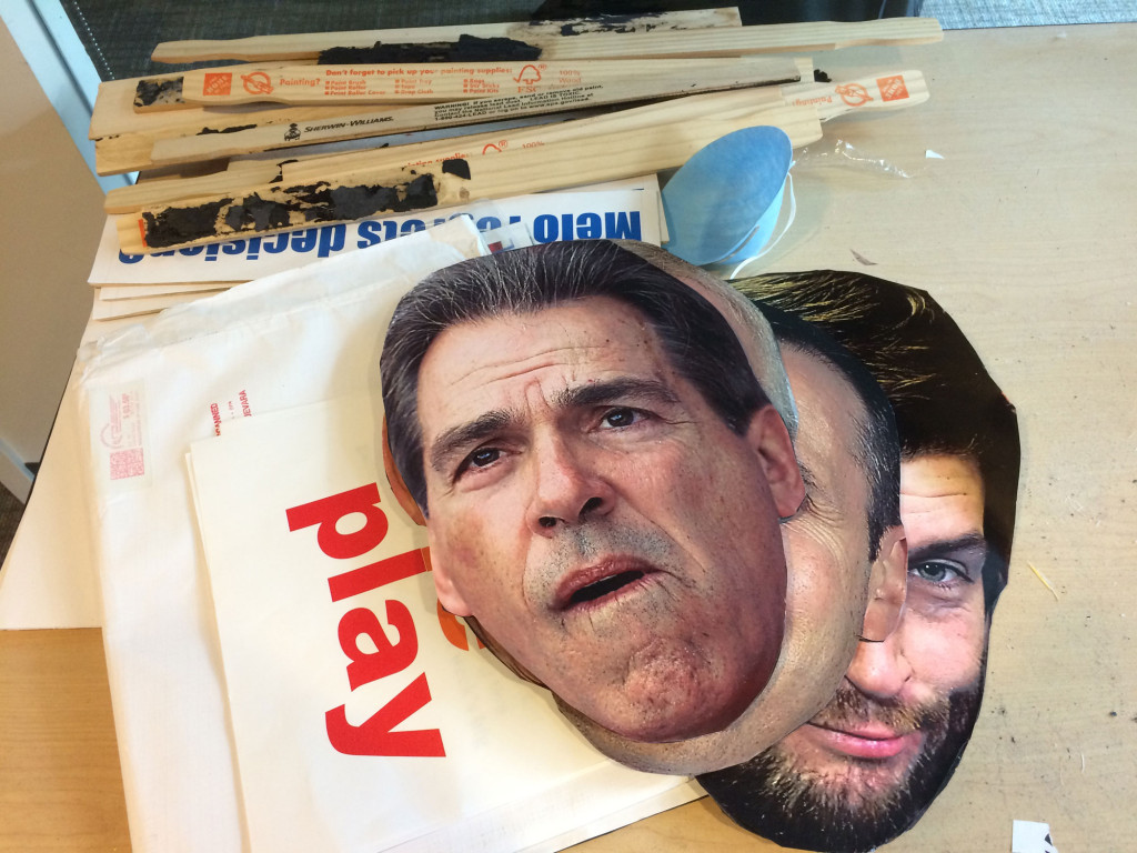 Rydholm still prints, cuts and pastes together the Heads on Sticks that appear on the show. (WTOP/Noah Frank)