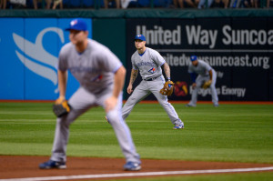 The Toronto Blue Jays employ  a shift during a 2012 game against the Tampa Bay Rays. (AP Photo/Phelan M. Ebenhack)