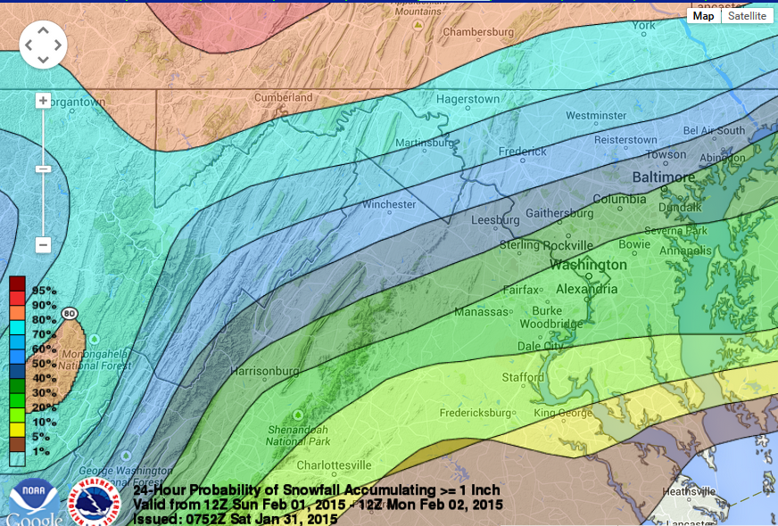 """Caption: Probability of snow accumulation of more or equal to 1.0"""" by 7 a.m. Monday morning – D.C. has about a 20 to 30 percent chance while Western Loudoun and Montgomery counties have 50 to 60 percent chance."""