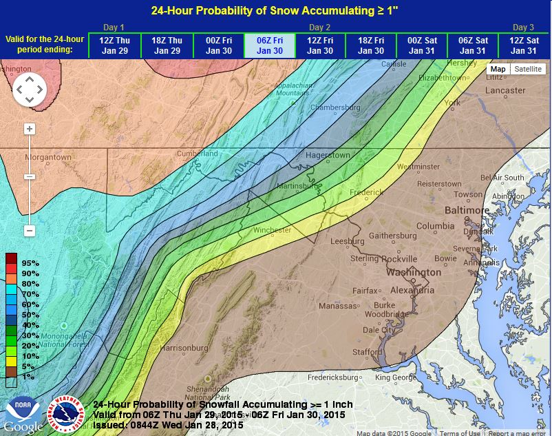 "There is about a 5 percent chance (brown color) for more than 1.0"" of snow to fall across most of our region with slightly better chances north and west of D.C. (NOAA)"