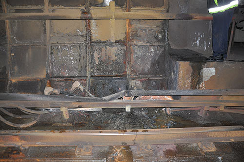 This photo provided by the National Transportation Safety Board shows damage from the arcing incident in the tunnel near L'Enfant Plaza Station Monday. (Courtesy NTSB)