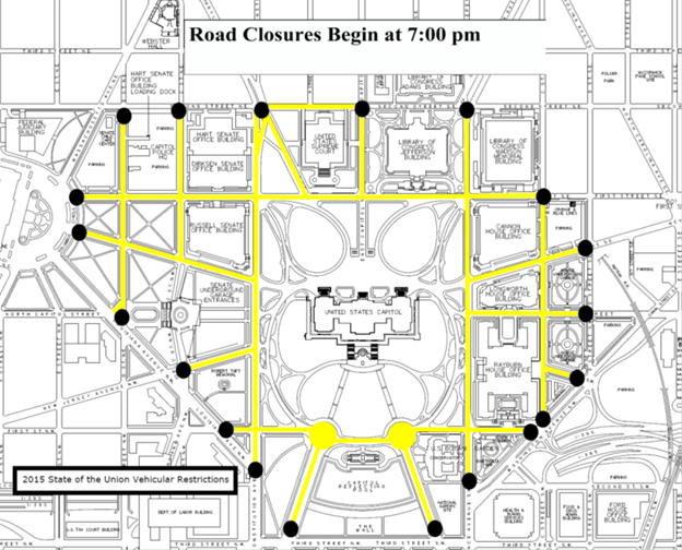 Road closures ahead of State of the Union
