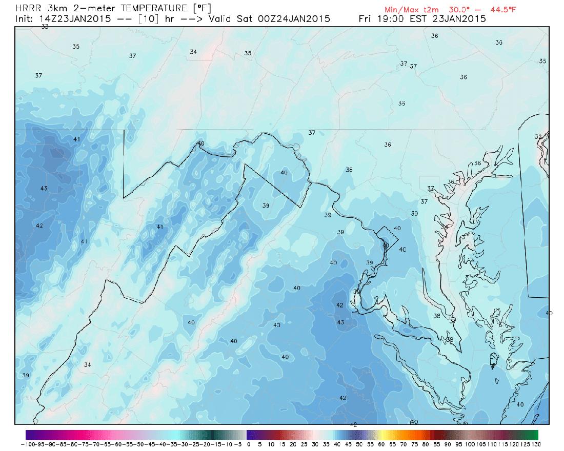 Surface temperatures around 7 p.m. Friday evening. Notice all temperatures around the region are above freezing.