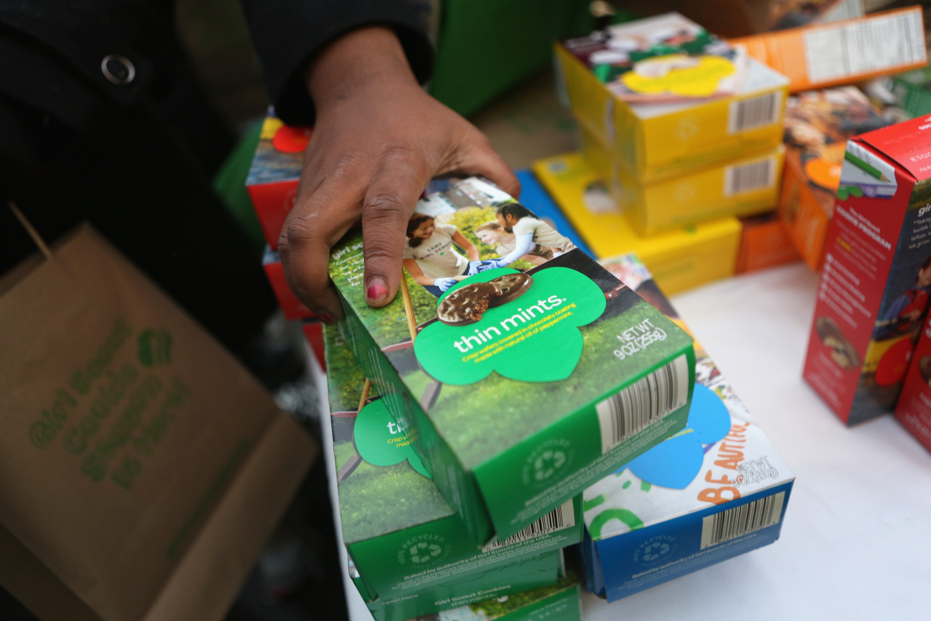Girl Scout cookies are turning 100 years old, and are marking the occasion with the National Girl Scout Cookie Weekend in February. (Photo by John Moore/Getty Images)