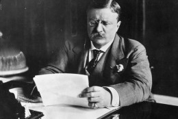 circa 1905:  Theodore Roosevelt (1858 - 1919),the 26th President of the United States (1901-09) sitting at his desk working.  (Photo by Hulton Archive/Getty Images)