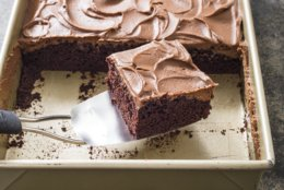 "This undated photo provided by America's Test Kitchen in November 2018 shows a chocolate sheet cake in Brookline, Mass. This recipe appears in the ""Complete Cookbook for Young Chefs."" (Carl Tremblay/America's Test Kitchen via AP)"