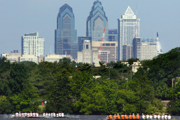 FILE - In this June 2, 2011 file photo, the skyline of downtown Philadelphia is seen from Camden, N.J. Democrats have picked Philadelphia as the site of their 2016 national convention. It's a patriotic backdrop for the nomination of the party's next presidential candidate. The Democratic National Committee says the convention will be held the week of July 25, 2016.  (AP Photo/Tom Mihalek, File)