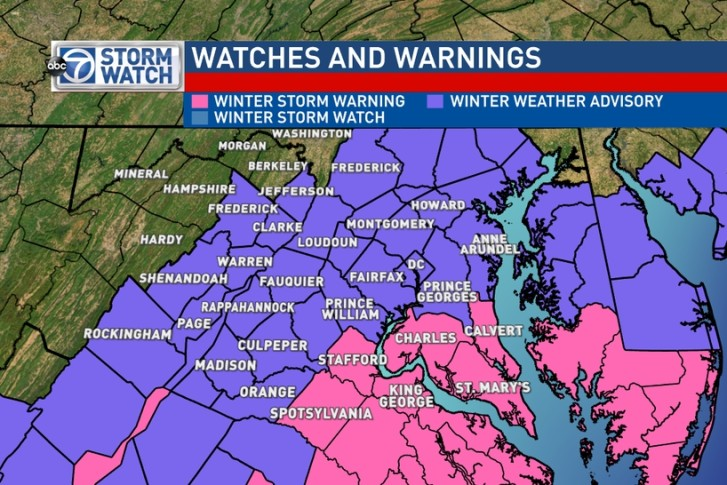 Winter Weather Advisories For Most Of D C Area Thursday Until 12