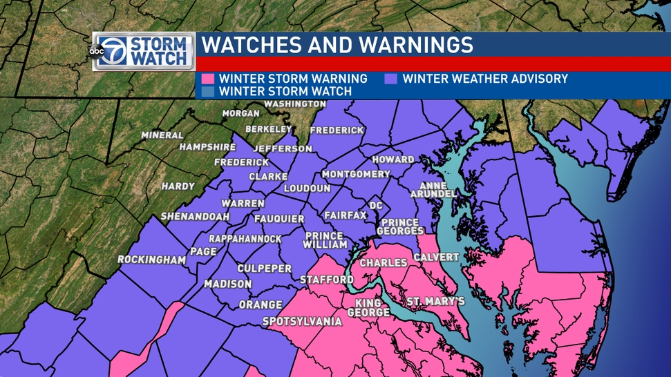 Winter Weather Advisories for most of D.C. area Thursday ... on dc tours map, dc art map, dc crime rate map, dc points of interest map, dc traffic map, dc airports map, dc snow map, dc transportation map, dc transit map, dc flood map, dc parking map, dc food map, dc power outage map, dc water map, dc road map, dc museums map, dc state map, dc restricted airspace map, dc street map, dc speed limits map,